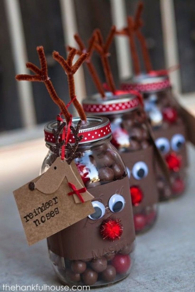 Diy gift christmas decoration with bottles, cans, cups, and glass for friend