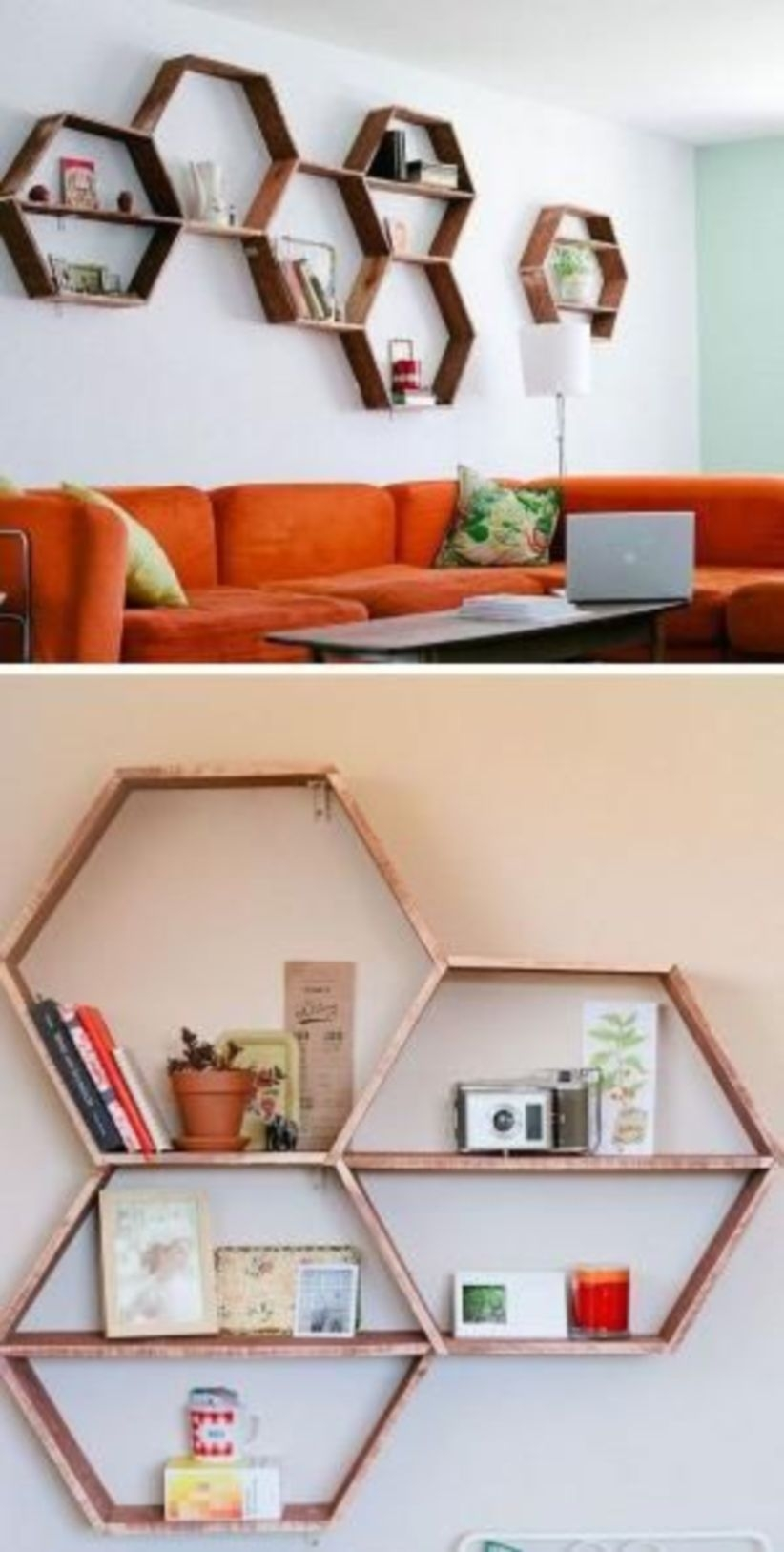 Diy honeycomb shelves living room decor for apartment