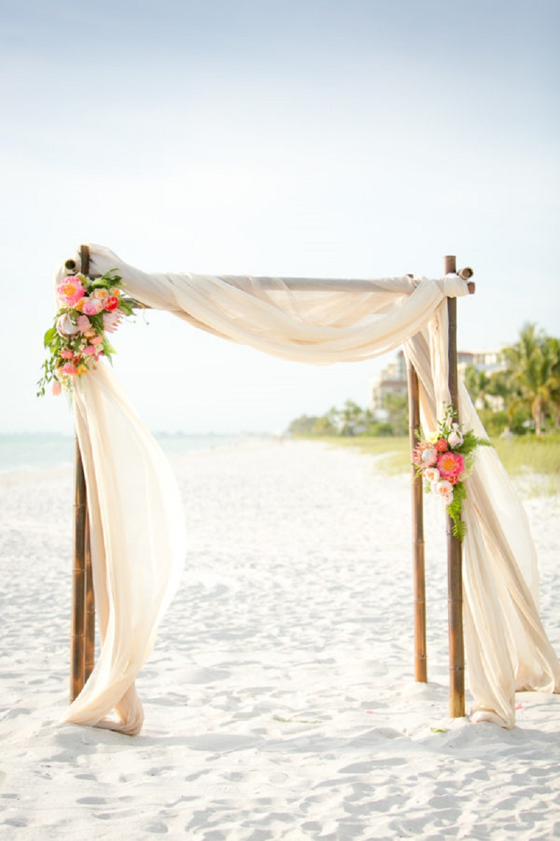 Beach and gold resort flower wedding arch