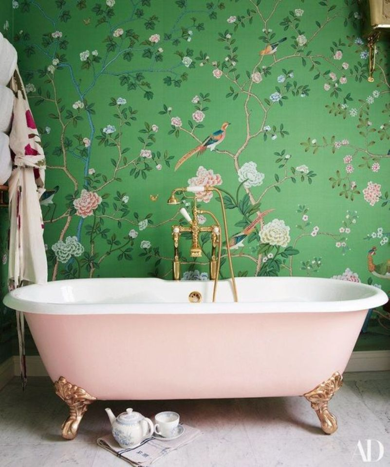 girlish space with green and pink floral print