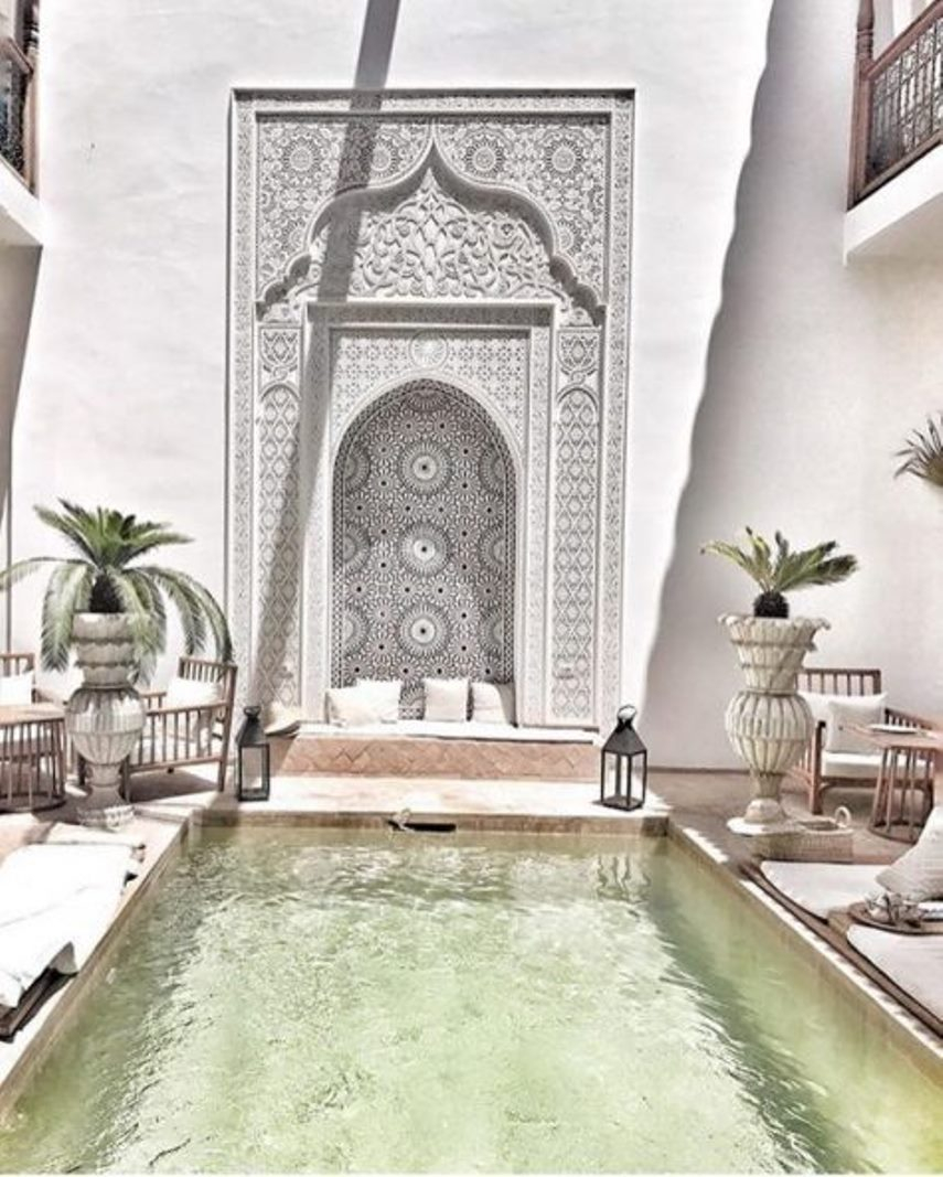 Bright moroccan boho patio