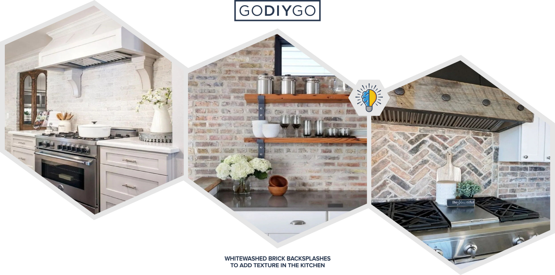 Whitewashed And White Brick Backsplashes To Add Texture In The Kitchen Godiygo Com